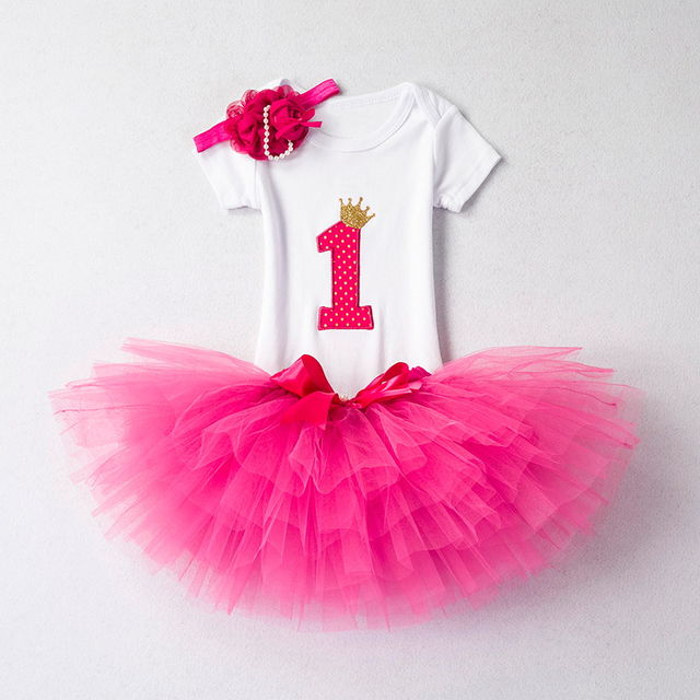 1688 Aini Babe Baby Girl Clothes Birthday Party Dresses For 1 Year Old Infant Toddler Children Its My 1st Tutu Suits