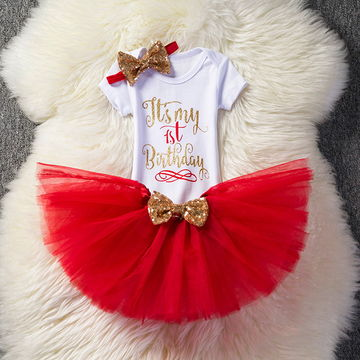 NZ2363 Aini Babe Baby Girl Clothes Birthday Party Dresses For 1 Year Old Infant Toddler Children Its My 1st Tutu Suits