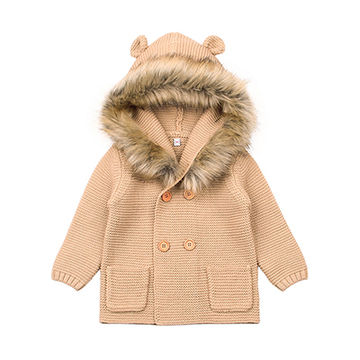 e03ca8186 Animal Winter Sweater For Baby Girls Cardigan With Ears Newborn Boys  Knitted Jackets Hooded Autumn Children Long Sleeve Coat