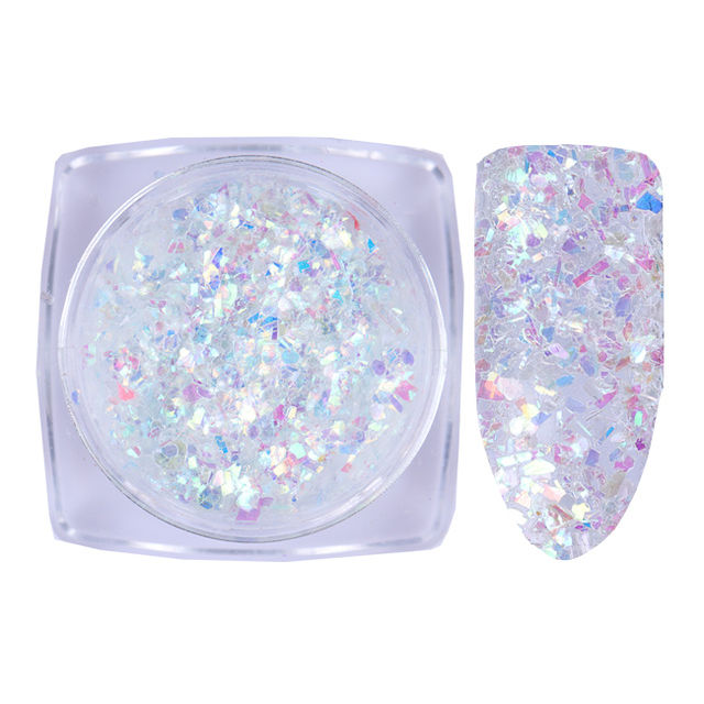 $4.94 BORN PRETTY AB Color Nail Glitter Flakies Irregular Star Round ...