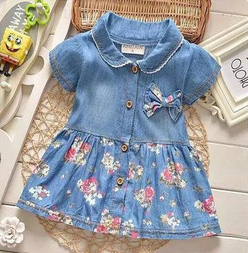 227a4228d Baby Dress Girls Denim Summer Vestido Infantil Cotton Bow Clothing Flower  Print Baby Dresses For Girls Fashion Children's Dress