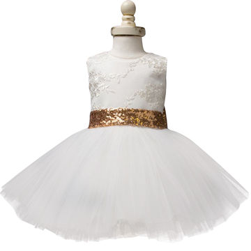493cc7d8bd3f HK 132.60 Baby Frock Designs Lace Christening Gown Gold Bow Baby Girl 1  Year First Birthday Outfit Toddler Infant Party Dress Kids Vestido