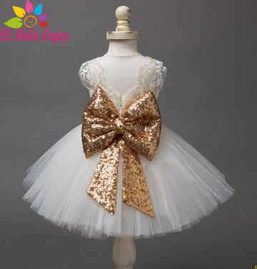 57486237f $17.52 Baby Girl Dresses Christening Gown 2019 Infant Dress Lace Bow Sequins  Princess 1st Birthday Dress Toddler Baby Girl Clothes