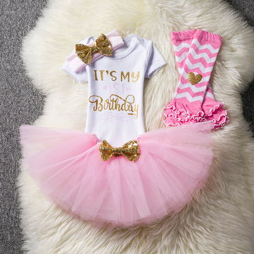 b975ad9400e25 Baby Girl First 1st Birthday Party Tutu Dresses for Toddlers Vestidos  Infantil Princess Clothes 1 Year Girls Baptism Clothing