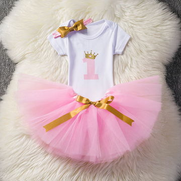 16.66 Baby Girl First 1st Birthday Party Tutu Dresses for Toddlers Vestidos  Infantil Princess Clothes 1 Year Girls Baptism Clothing 7fba72910e83