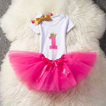 70397a0d $16.66 Baby Girl First 1st Birthday Party Tutu Dresses for Toddlers  Vestidos Infantil Princess Clothes 1 Year Girls Baptism Clothing