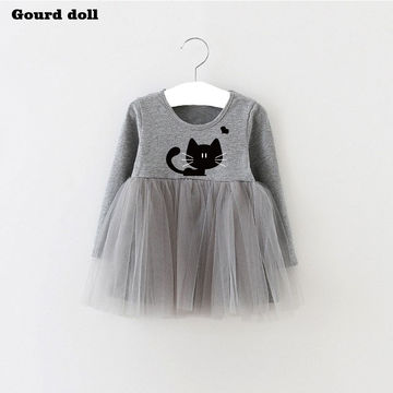 1432 Baby Girls Dress Character Cat Infant Party Dress For Toddler