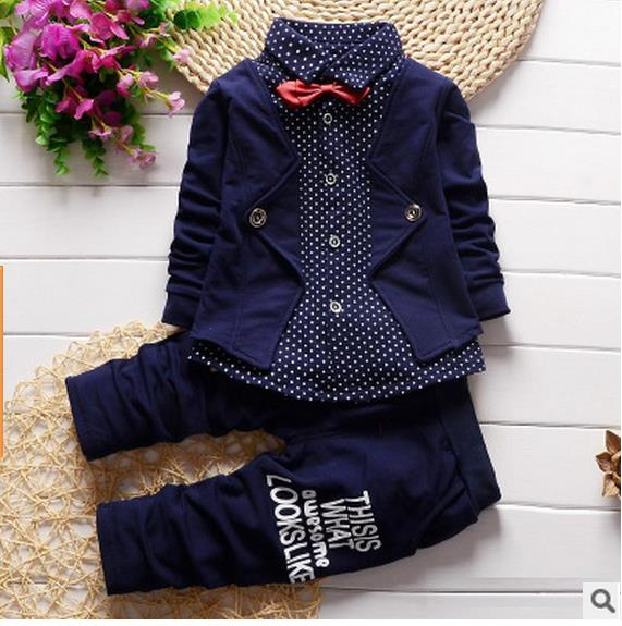 2265 Baby Boy Clothes Spring 2016 Formal Kids Suit 2Pcs Boys Set Born Gentleman Toddler Birthday Dress