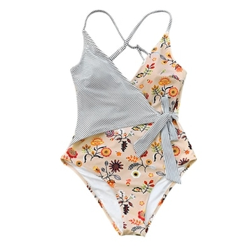 718d6488e061b $32.20 CUPSHE Stay Young Stripe One-piece Swimsuit Women V neck Sexy  Backless Tied Bow Monokini 2019 Beach Bathing Suit Swimwear