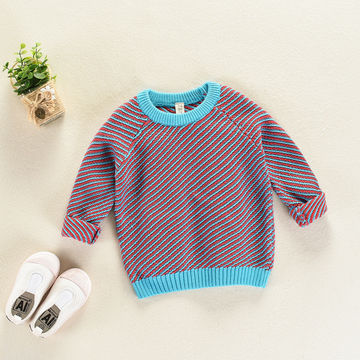 04ecbba44 NZ$35.42 Children Clothing Fashion Baby Boys Girls Knitted Sweaters Clothes  Vintage Striped Sweaters Fashion Baby Girls Sweaters Clothes