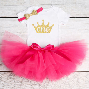 6401275f1  16.88 Cotton Baby Girls Clothes 1 Year 1st Birthday Dress Party ...