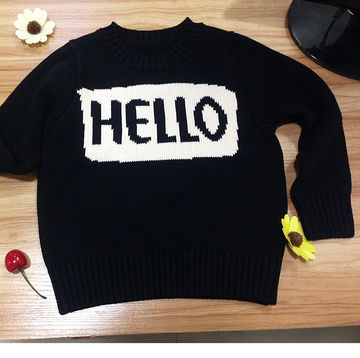 1798 Cute Baby Girls Boys Hello Letter Style Sweaters Kids Long