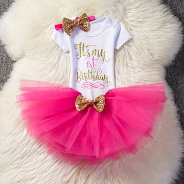 CDN1479 First 1st Birthday Outfits Baby Baptism Clothes Girl Party Wear Kids Clothing 2 Years Tutu Infant Christening Suits