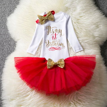 bc7ca949e14b6 $16.88 Kids Dresses For Girls 2019 Tutu Girls 1st First Birthday Party Infant  Dress Baby Girl 1 Year Baptism Clothes Vestido Infantil