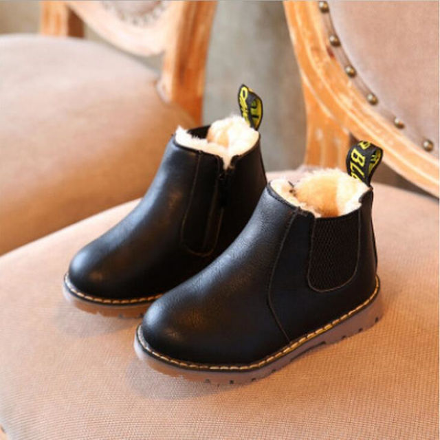 051b42f79d2b4 Kids Winter Leather Plush Shoes Boys Toddler Boots Autumn Fashion Martin  Boots with Fur Children Soft Outdoor Girls Boots Shoes