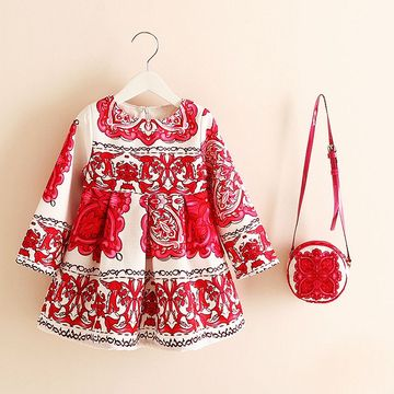 Toddler Christmas Outfit Girl.Long Sleeve Dress Girl Christmas Dress 2019 Autumn Winter Floral Print Toddler Girl Dresses Kids Clothes Children Dress With Bag