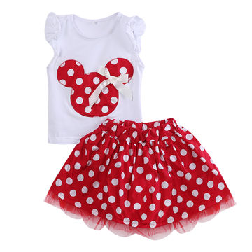 fb30bb4c412b0 $10.47 Minnie Mouse Clothes Set Kids Baby Girls Summer Outfits ...