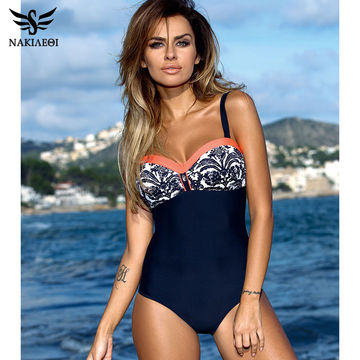 606cd9a0fa  21.57 NAKIAEOI 2019 One Piece Swimsuit Plus Size Swimwear Women Push Up  Swimwear Print Patchwork Vintage Retro Bathing Suit Swim Wear