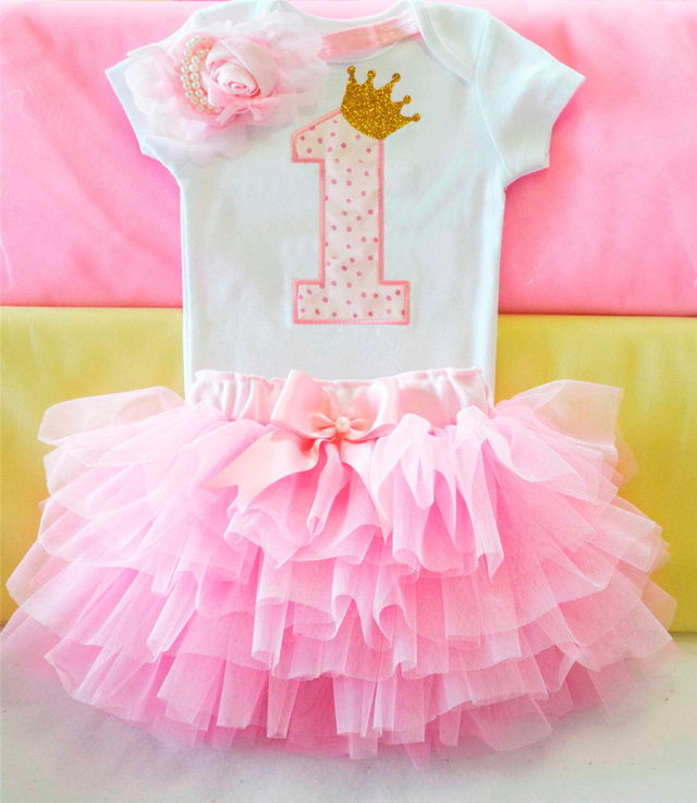 1687 Newborn 2018 Flower Party Clothes Set Baby Girl One Years First Birthday Tutu Outfits For Girls Tulle Toddler Clothing Suit