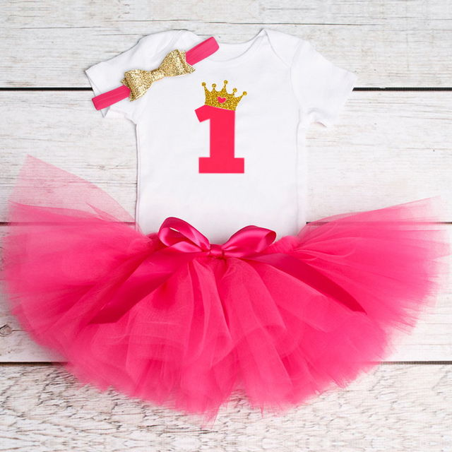 51f475ab2 1687 Newborn 2018 Flower Party Clothes Set Baby Girl One Years First Birthday  Tutu Outfits For