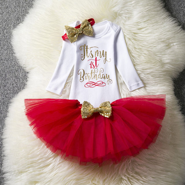 fb65ba12a49d  16.88 Newborn Baby Girl Clothing Little Girl 1st Birthday Outfits Baby  Romper+Tutu Dress+Headband Infant Party Costume Kids Clothes