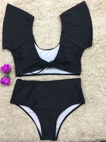 2827764051f45  19.19 Off Shoulder Swimsuit 2018 New Arrival Strapless Bandeau Sexy Bikini  Set Women Swimwear High Waist Black Backless Bathing Suits