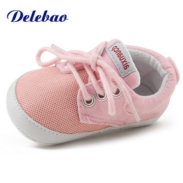 d98c251cfaa19 Pink Polka Dot Cotton Soft Sole Baby Shoes Lace-up Spring/Autumn First  Walkers Newborn Infant Toddler Crib Girl Shoes Wholesale