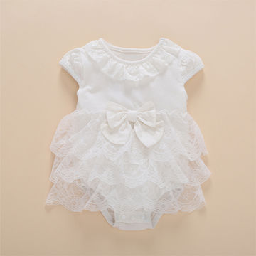 831a6dd9ada50 $21.82 Princess Style Newborn Baby Dress Christening Summer Short White  Ruffle Lace Romper Party Dresses Baby Girl Clothes Dress 0-3