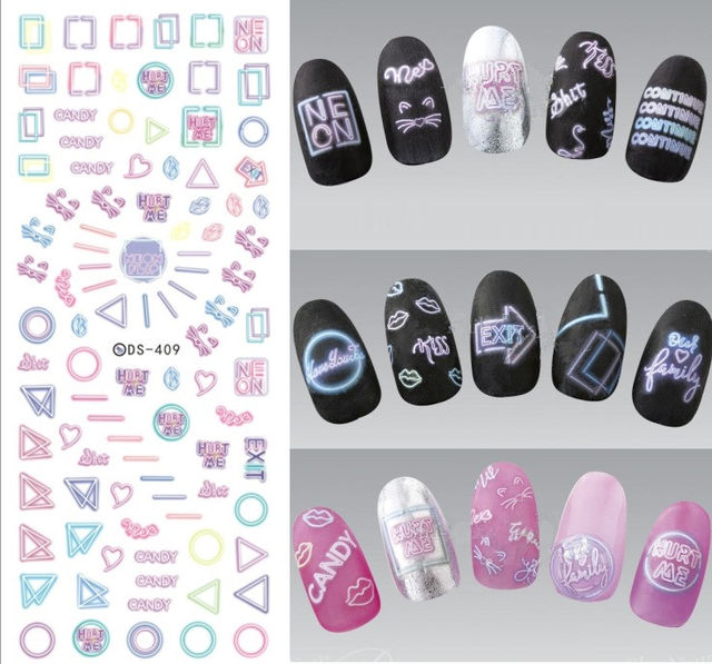 448 Rocooart Ds255 Diy Water Transfer Nails Art Sticker Colorful