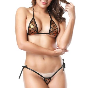 6e74360b2fb32  9.44 Sexy bikini Women Eye-catching Shiny Bikini Micro Halter Top + G- String Set Swimsuit thong bikini