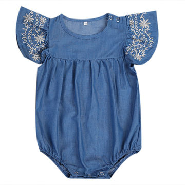 986ebe38b32d  12.57 Summer Denim Romper 2019 Newborn Baby Girl Romper Ruffled Sleeve  Jumpsuit Playsuit Outfits Sunsuit Clothes Set