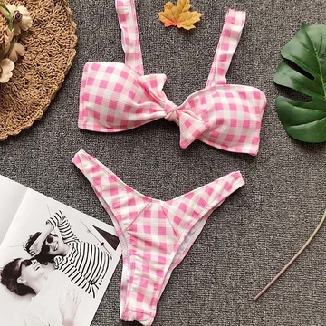 Womens Pink Plaid Swimsuits Sexy Swimming Suit Push Up Bikini May Red Girl Separate Swimwear Female Brazilian Bathing Suits Bikinis Set