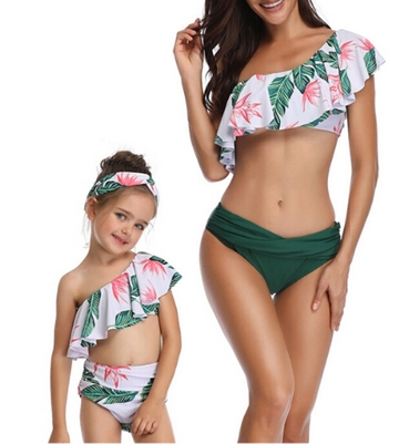 7428a0cc53 $28.45 Womens High Waist Swimsuit Bikini set Mother Girl Floral Ruffles  2PCS Bathing Suit Swimwear Family Matching Beachwear