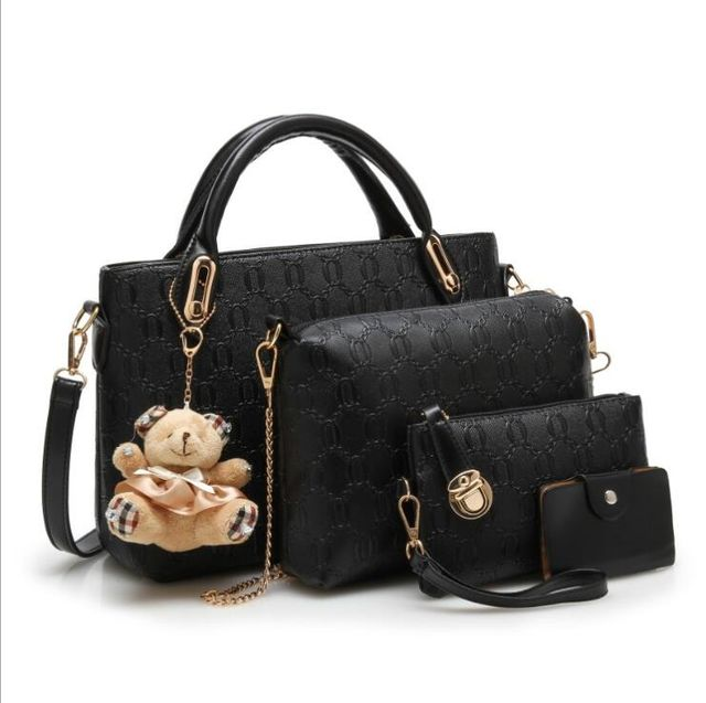c920bd050cb9  29.99 Yeetn.H Women 4 Set Handbags Pu Leather Fashion Designer Handbag  Shoulder Bag Black Vintage Female Messenger Bag Sac A Main M129