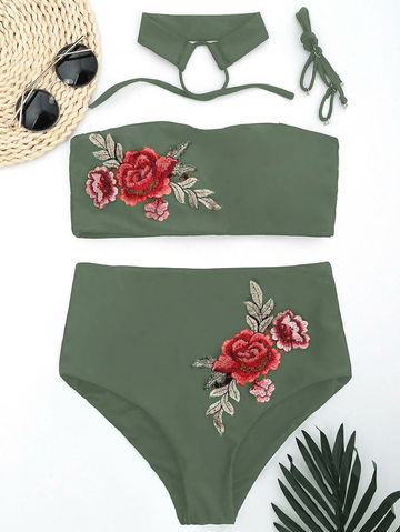 65bab7c0e9174 $27.64 Zaful 2019 Women New Floral Applique Bandeau Collar High Waisted  Bikini Sexy Floral Printed Swimsuit Summer Beach Swimwear
