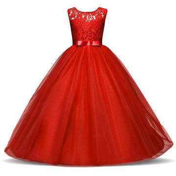 Christmas Party Dresses.Winter Flower Princess Girl Tulle Dress Kids Teenagers Clothes Christmas Party Dresses Performance Clothing Children Prom Gown